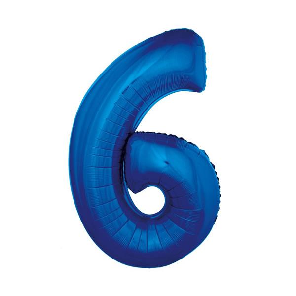 6. szám fólia lufi, 92cm kék