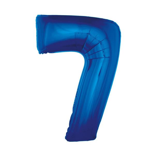 7. szám fólia lufi, 92cm kék