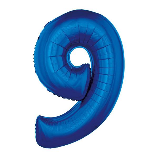 9. szám fólia lufi, 92cm kék